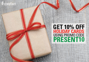 Use PRESENT10 for 10% off any holiday or New Year's card in the store starting now, which is good for multiples uses with no dollar limit.