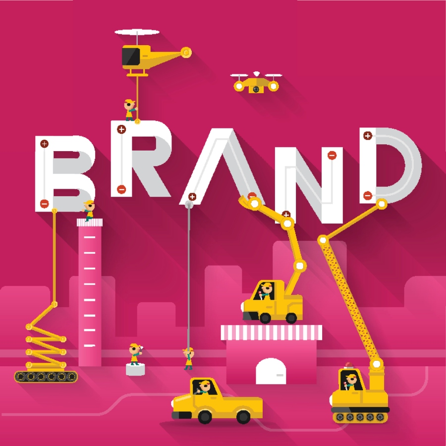 Brand text illustration in construction