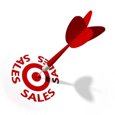 An arrow reaching the center of the sales target